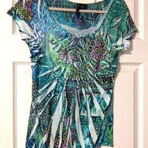 Ladies blouse. Blue floral.